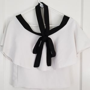 Tops - Unbranded Off Shoulder Top Black and White